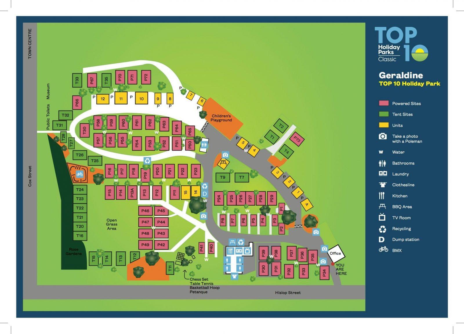 Geraldine Top 10 park map